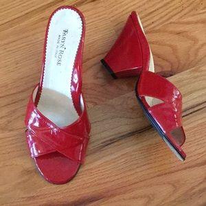 Taryn Rose red patent wedge slides
